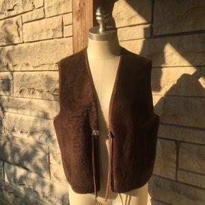 lauren ralph lauren brown faux fur leather vest